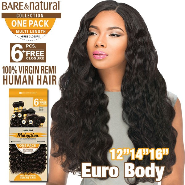 "Sensationnel Bare & Natural 100% Virgin Remi Bundle Hair_Euro Body (Malaysian Hair) 1 Pack 12""(2)14""(2)16""(2)"