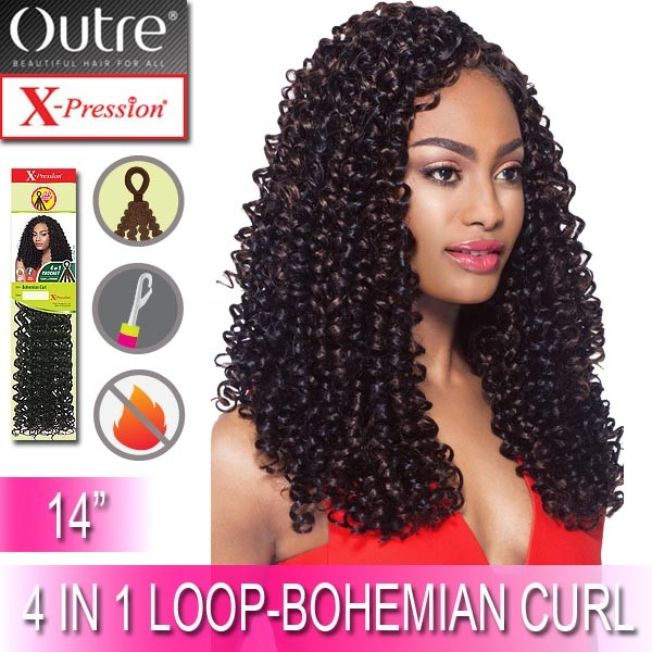 """Outre X-Pression Synthetic Crochet 4 In 1 Loop Braid_Bohemian Curl 14"""""""