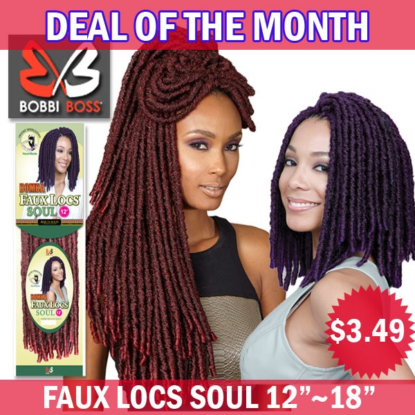 "Bobbi Boss African Roots Synthetic Crochet Braid_Bomba Dreadlocks Faux Locs Soul 12""~18"""