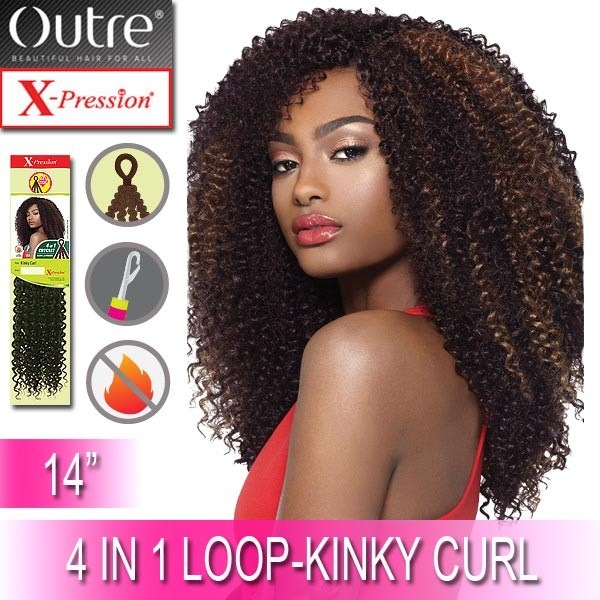"""Outre X-Pression Synthetic Crochet 4 In 1 Loop Braid_Kinky Curl 14"""""""