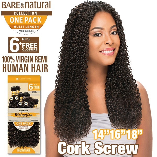 "Sensationnel Bare & Natural 100% Virgin Remi Bundle Hair_Cork Screw (Malaysian Hair) 1 Pack 14""(2)16""(2)18""(2)"