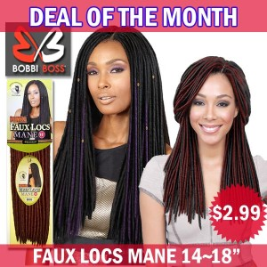 "Bobbi Boss African Roots Synthetic Crochet Braid_Bomba Faux Locs Mane 14""~18"""