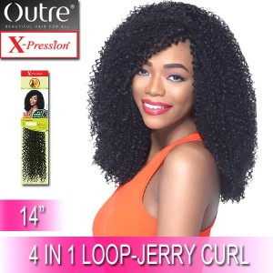 Outre X-Pression Synthetic Crochet 4 In 1 Loop Braid_Jerry Curl 14""