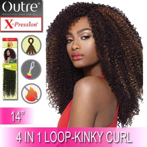 Outre X-Pression Synthetic Crochet 4 In 1 Loop Braid_Kinky Curl 14""