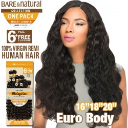 "Sensationnel Bare & Natural 100% Virgin Remi Bundle Hair_Euro Body (Malaysian Hair) 1 Pack 16""(2)18""(2)20""(2)"