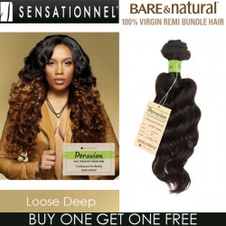 "Sensationnel Bare & Natural 100% Virgin Remi Bundle Hair_Loose Deep(Peruvian Hair)(12""~20"")"